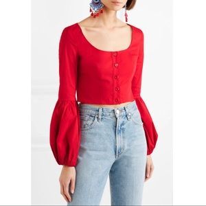 STAUD Monica stretch-cotton poplin red top